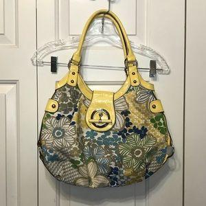 • Linear Yellow Floral Shoulder Bag •